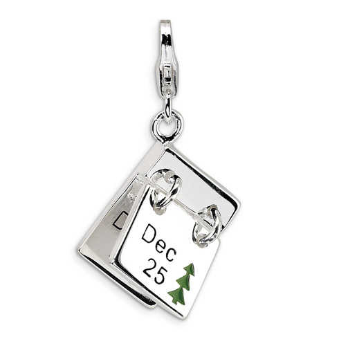 Sterling Silver 3-D Enameled Dec. 25 and Dec. 26 with Lobster Clasp Charm