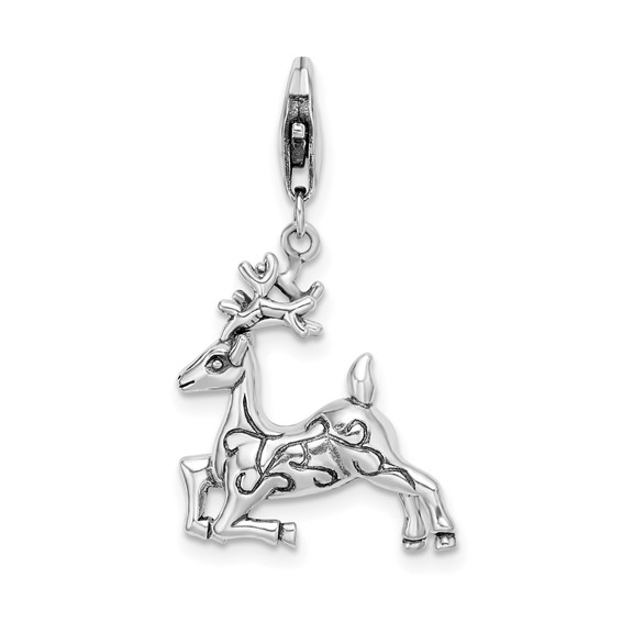 Sterling Silver 3-D Reindeer with Lobster Clasp Charm