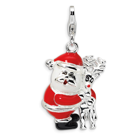 Sterling Silver 3-D Enameled Santa and Reindeer with Lobster Clasp Charm