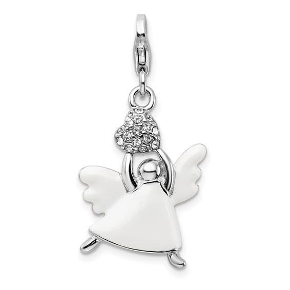 Sterling Silver Enameled Swarovski Crystal Angel Charm
