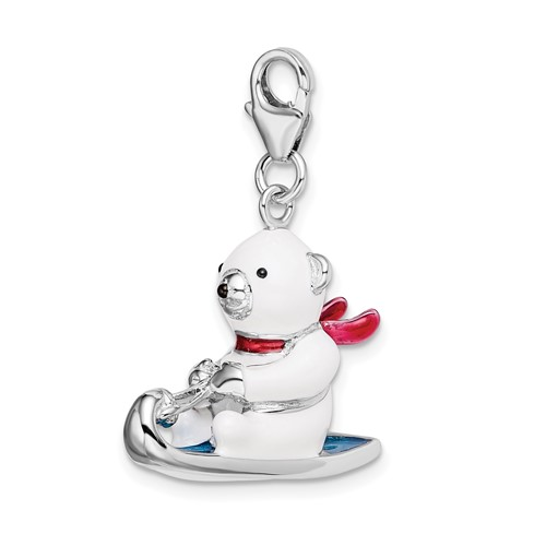 Sterling Silver 3-D Enameled Polar Bear on Sled with Lobster Clasp Charm