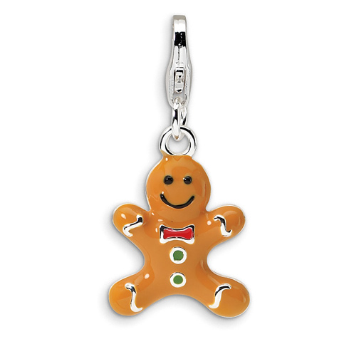 Sterling Silver 3-D Enameled Gingerbread Cookie Charm