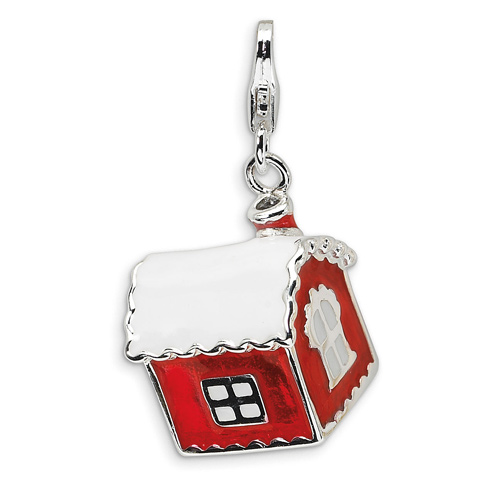 Sterling Silver 3-D Enameled House with Snow on Roof with Lobster Clasp Charm