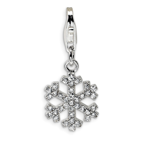 Sterling Silver CZ Snowflake with Lobster Clasp Charm