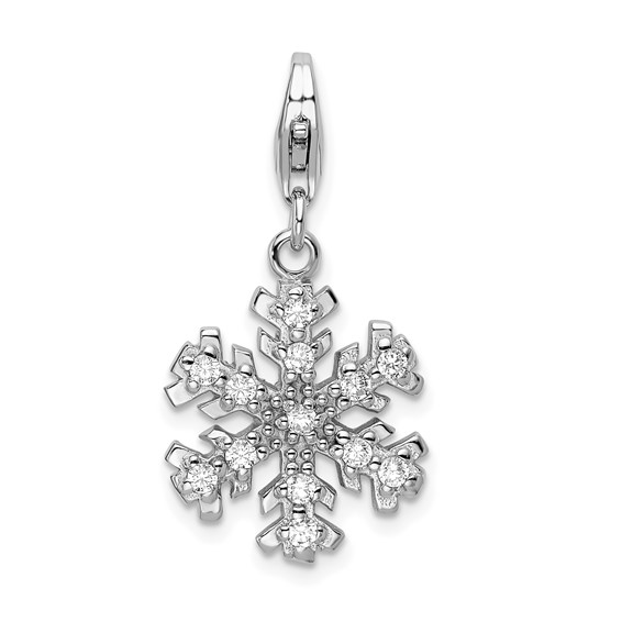 Sterling Silver Glass Stone Snowflake with Lobster Clasp Charm