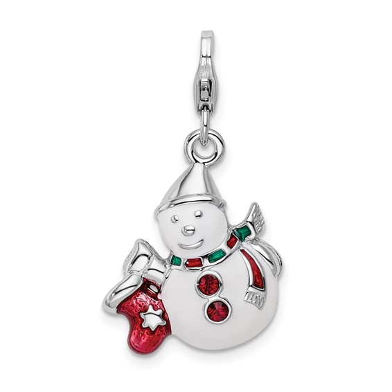 Sterling Silver Enameled Swarovski Crystal Snowman with Lobster Clasp Charm