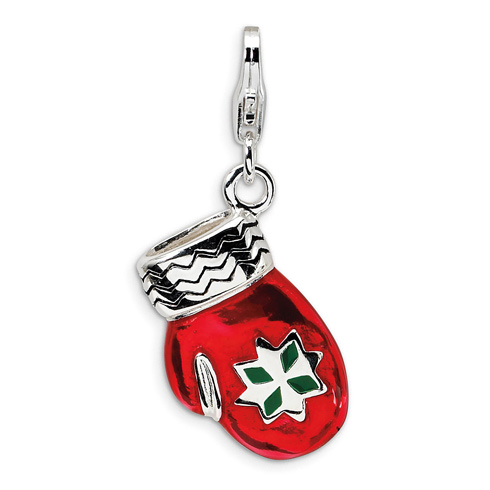 Sterling Silver 3-D Enameled Red Mitten with Lobster Clasp Charm