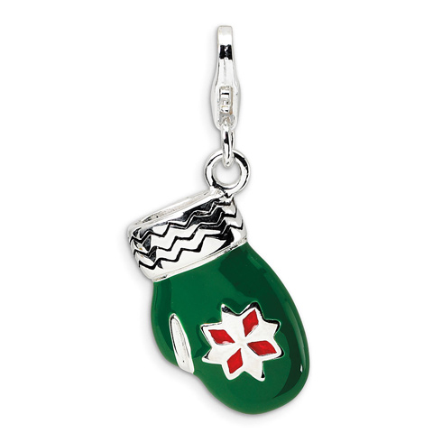 Sterling Silver 3-D Enameled Green Mitten with Lobster Clasp Charm