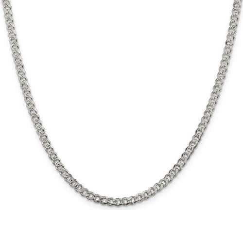 Sterling Silver 16in Italian Pavé Curb Chain 4mm