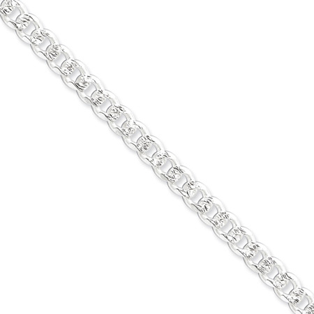 8in Pavé Curb Chain 7mm - Sterling Silver