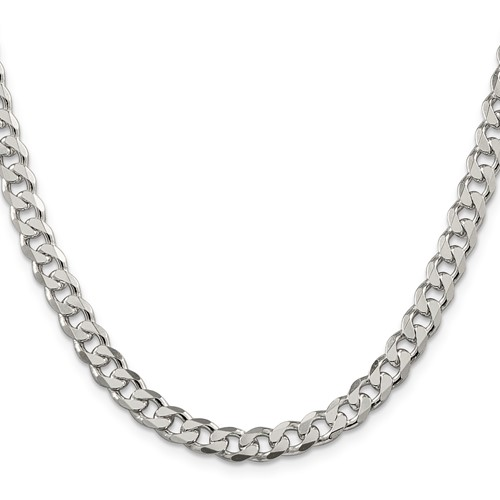 24in Pavé Curb Chain 7mm - Sterling Silver