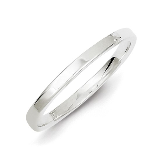 Sterling Silver 2mm Flat Wedding Band
