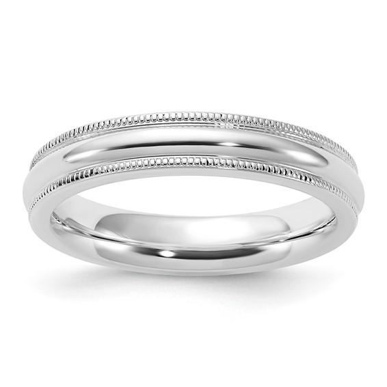 Sterling Silver 4mm Comfort Fit Milgrain Wedding Band