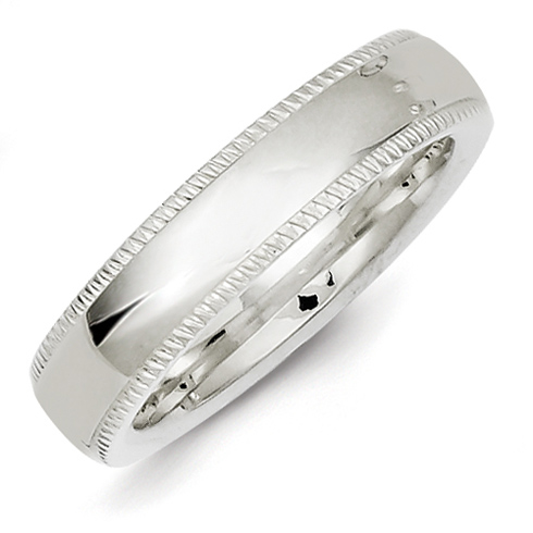 Sterling Silver 5mm Comfort Fit Milgrain Wedding Band