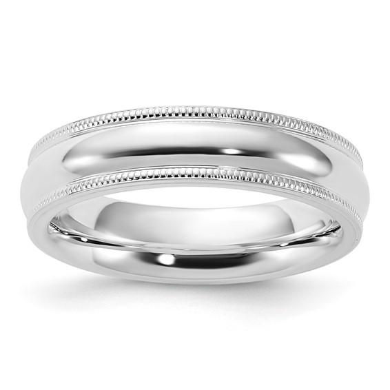 Sterling Silver 5mm Comfort Fit Milgrain Wedding Band