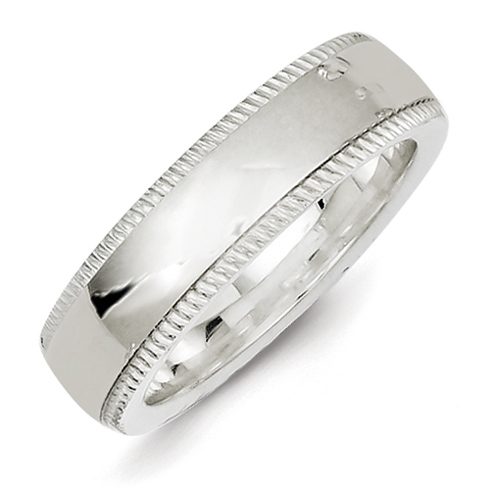 Sterling Silver 6mm Comfort Fit Milgrain Wedding Band