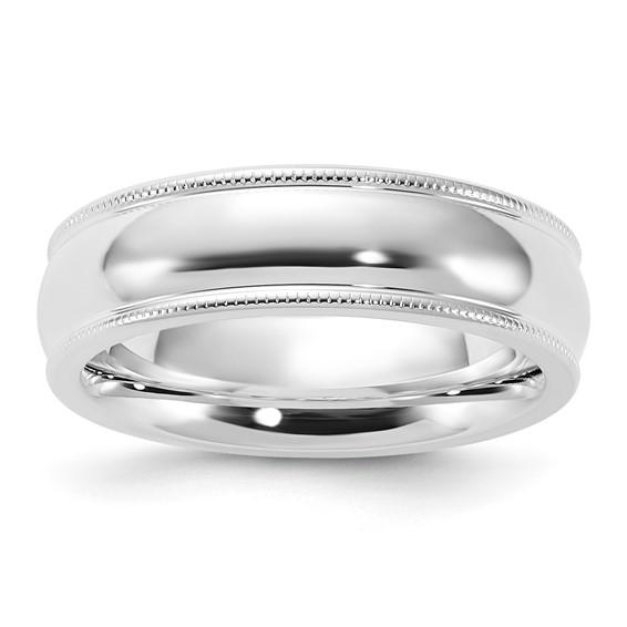 Sterling Silver 6mm Comfort Fit Milgrain Wedding Band
