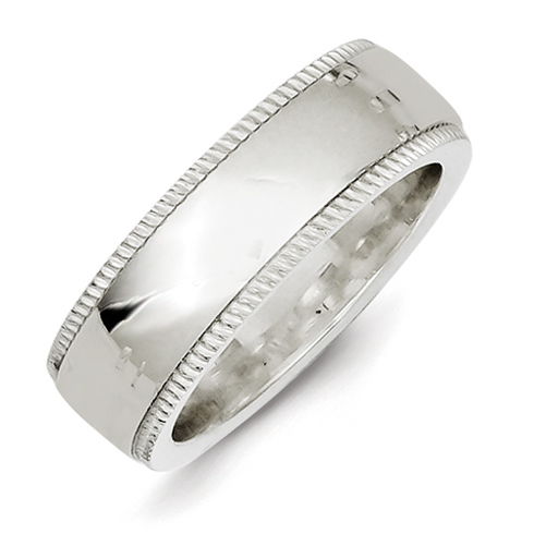 Sterling Silver 7mm Comfort Fit Milgrain Wedding Band