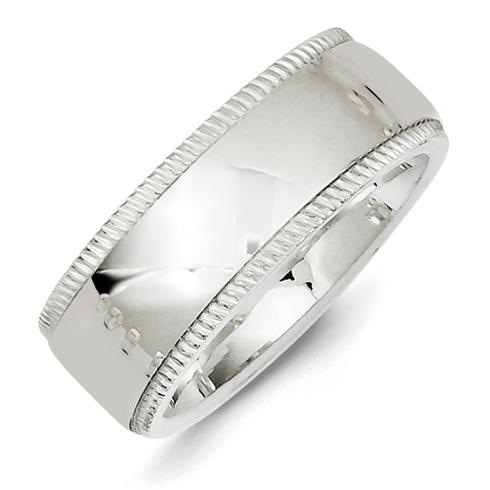 Sterling Silver 8mm Comfort Fit Milgrain Wedding Band