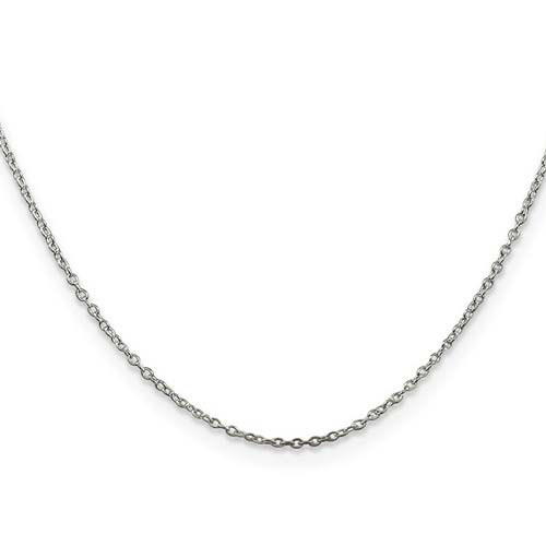 Sterling Silver 16in Cable Chain 1mm