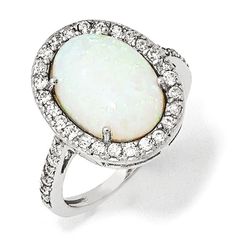 Sterling Silver Oval Created Opal Ring with Cubic Zirconias