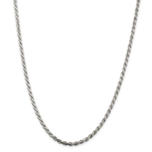 Sterling Silver 9in Diamond-cut Rope Chain Bracelet 3mm