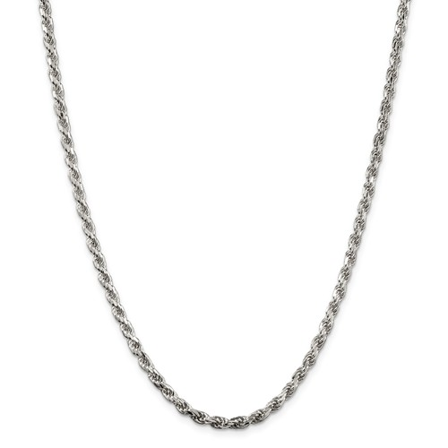 Sterling Silver 24in Diamond-cut Rope Chain 3.5mm