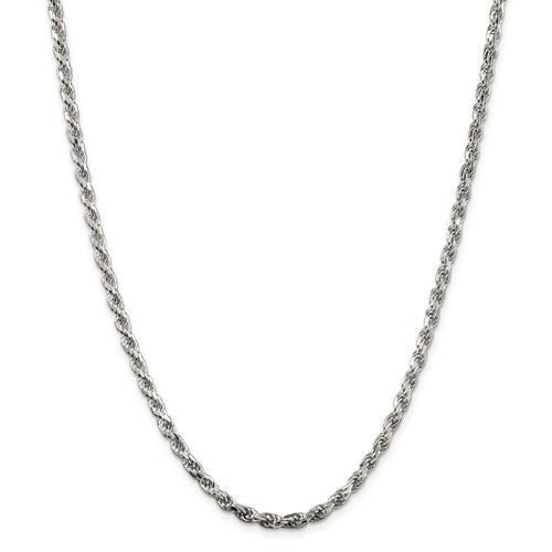 Sterling Silver 9in Diamond-cut Rope Bracelet 3.5mm