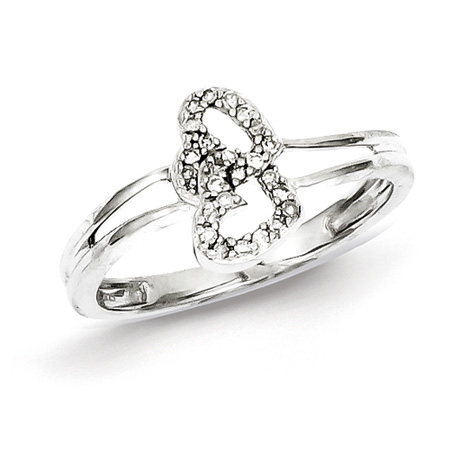 1/10ct Diamond Two Hearts Promise Ring