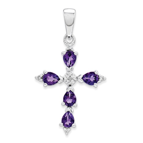 Sterling Silver 2/3 ct Amethyst Cross Pendant with Diamonds