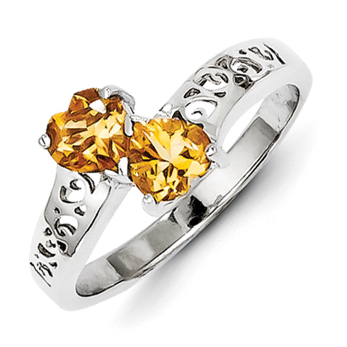 Sterling Silver .76 ct Citrine Heart Ring