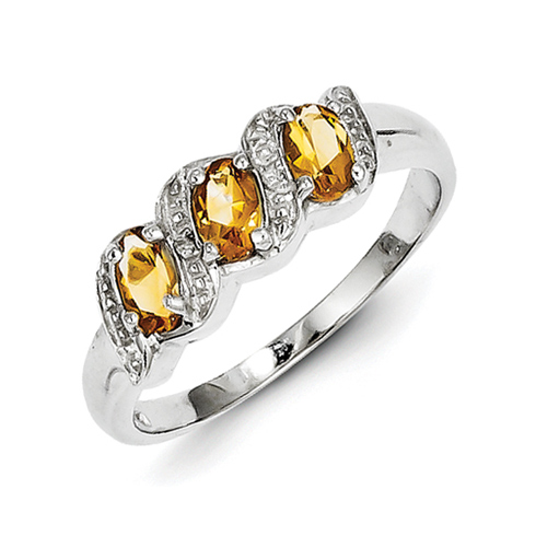 Sterling Silver 1.06 ct Three Stone Citrine Ring with Diamonds