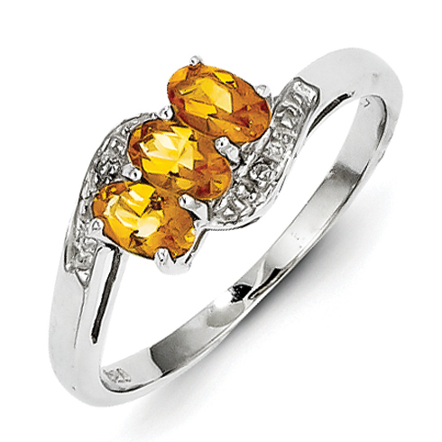Sterling Silver .57 ct Citrine and Diamond Ring