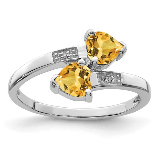 Sterling Silver .76 ct Citrine Two Hearts Ring