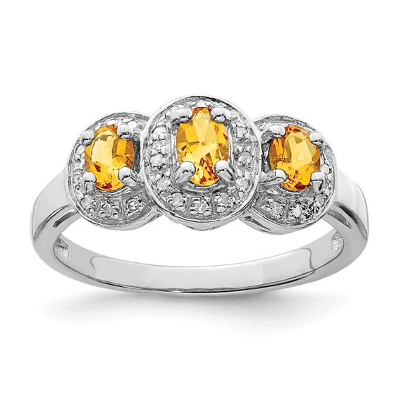 Sterling Silver .48 ct Citrine & Diamond Ring