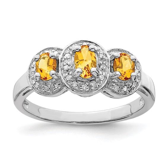 Sterling Silver .48 ct Citrine & Diamond Ring