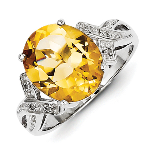 Sterling Silver Oval 5.2 ct Citrine Diamond Ring