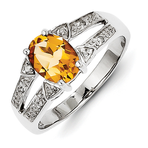 Sterling Silver 1 ct Citrine and Diamond Ring