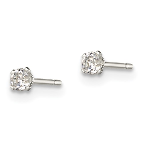 Sterling Silver Kid's 2.5mm CZ Stud Earrings