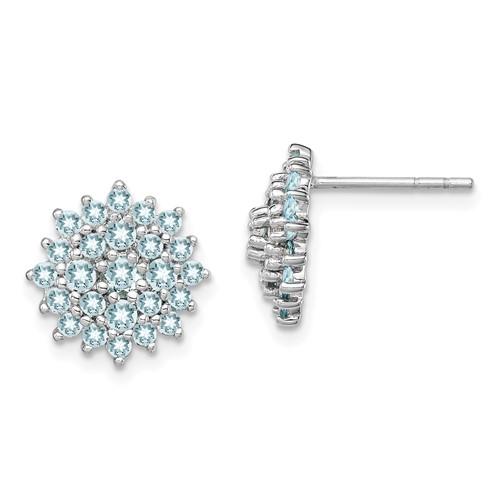 Sterling Silver 2/3 ct Aquamarine Cluster Earrings