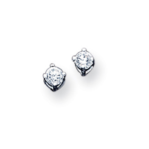 Sterling Silver 3.0mm CZ Stud Earrings