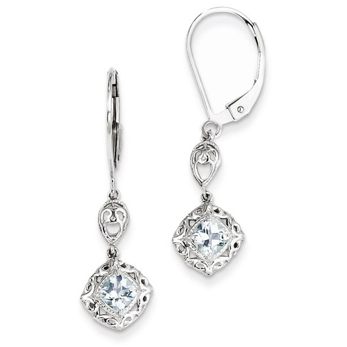 Sterling Silver .46 ct ct Cushion-cut Aquamarine Leverback Earrings