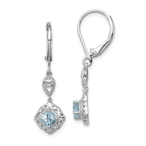 Sterling Silver .46 ct ct Cushion-cut Aquamarine Leverback Earrings