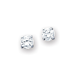 Sterling Silver 4.0mm CZ Stud Earrings