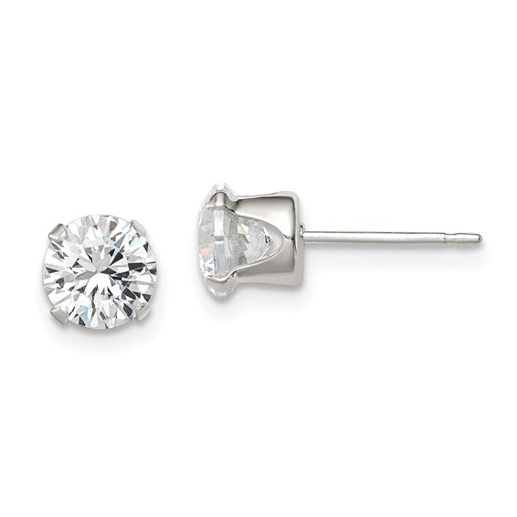 Sterling Silver 6.0mm Cubic Zirconia Stud Earrings
