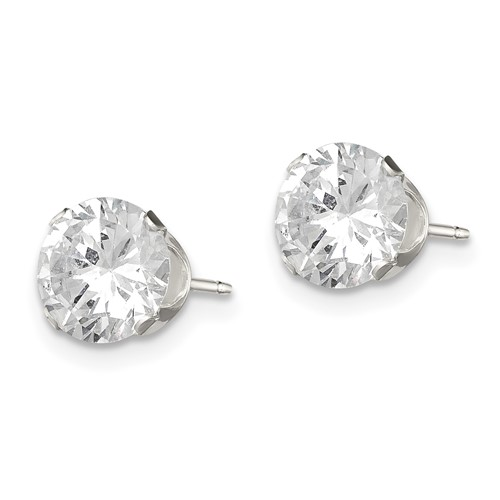 Sterling Silver 7.0mm CZ Stud Earrings