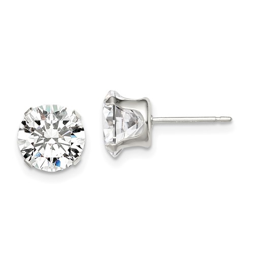 Sterling Silver 8.0mm Cubic Zirconia Stud Earrings