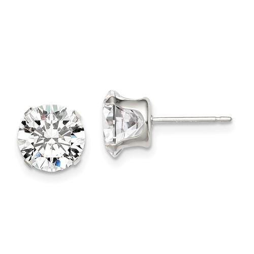 Sterling Silver 8.0mm Cubic Zirconia Stud Earrings