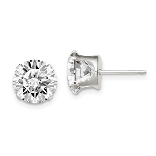 Sterling Silver 9mm Cubic Zirconia Stud Earrings