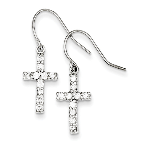 Sterling Silver 5/8in Cubic Zirconia Cross Earrings
